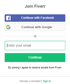 fill up the form to sign up with fiverr and make money on fiverr