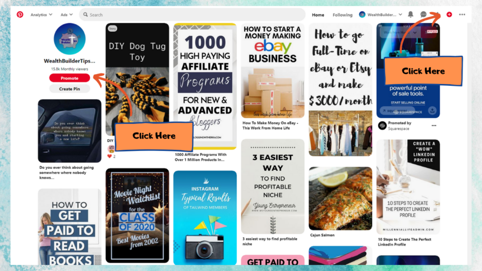 Click plus button to Add Amazon Affiliate Links on Pinterest 1